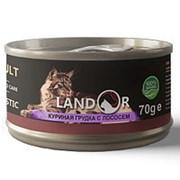 Landor 70г конс. Дополнительное питание для взрослых кошек Куриная грудка и лосось фото