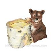 Кашпо декоративное Березовый пень с медведем, 12*19*16 см фото