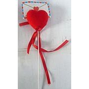 Сердце на палке с конвертом 5x5см фото