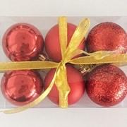 """Набор елочных шаров """"Шелк, бархат, люрекс"""", 6 шт, 6 см, красные, (MILAND) фото"""
