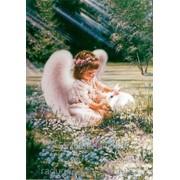 Картина стразами Ангелочек с кроликом 40*50 фото