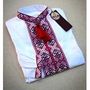 Парадная белая мужская рубашка с длинным рукавом (Б-18) фото
