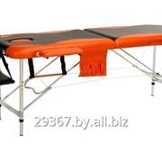 Складной 2-х секционный алюминиевый массажный стол BodyFit, черно-оранжевый фото