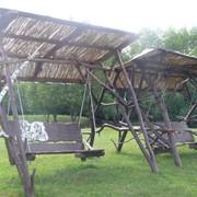 Качели и садовая мебель из Карпатского сруба фото