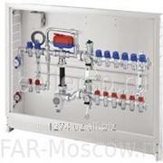 Сборный регулирующий узел для напольного и радиаторного отопления, 6 отводов на теплый пол + 3 отвода на радиатор, с сервоприводом, в коллекторном шкафу, отводы М24х19, артикул FK 3571 10603 фото