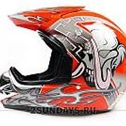 Детский защитный кроссовый шлем MOTAX M ( 51-52 см ) красно-серый фото