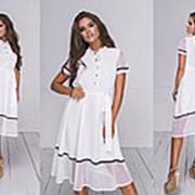 Женское платье из софта с пояском (5 цветов) - Белый ТК/-64038 фото