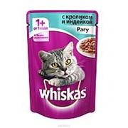 Whiskas 85г пауч Влажный корм для взрослых кошек от 1 года Индейка и кролик (рагу) фото