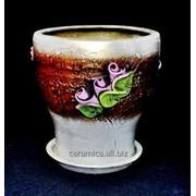 """Горшок для цветов из керамики ручной работы """"Зорепад большой лепка"""" фото"""