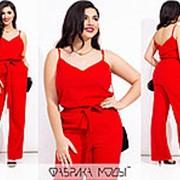 Льняной костюм женский с брюками (5 цветов) МЭ/-238/1 - Красный фото