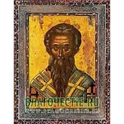Благовещенская икона Иоанн Милостивый, святитель, копия старой иконы, печать на дереве Высота иконы 11 см фото