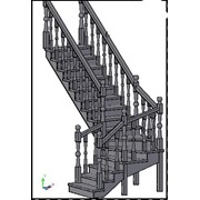 Лестница с забежными ступенями и поворотом на 90*СТ-2700З фото