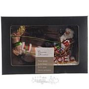 """Елочная игрушка """"Санта в упряжке"""", 13*8 см, стекло, подвеска (Kaemingk) фото"""