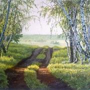 Картина живописная Дорога сквозь березки фото