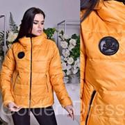 """Женская куртка с нашивкой """"Philipp Plein"""", """"Prada"""" в моделях, р-р 42-48 фото"""