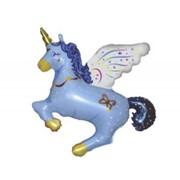Шар фольгированный Ф Фигура 11 Единорог волшебный синий FM фото