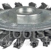 Щетка Stayer дисковая для УШМ, сплет в пучки стальн зак провол 0,5мм, 100мм/М14 Код:35192-100 фото