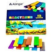 Пластилин 105472 Alingar AL 6307 цветной ( 12 цветов ) без стека для лепки 180 гр. ( цена за 1 уп.) фото