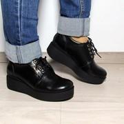 Женские туфли со шнуровкой на толстой подошве. ДС-16-0818 фото