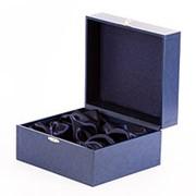 Подарочный футляр для подстаканника с ложкой синий фото