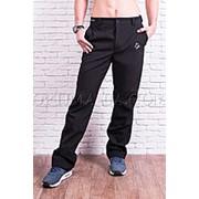Мужские тактические брюки софтшелл на флисе влагоустойчевые MAW man&wolf черные Soft Shell фото
