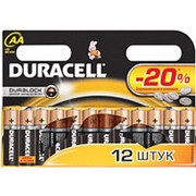 Батарейка AA щелочная Duracell LR6-12BL Basic экономичная упаковка 12шт. фото