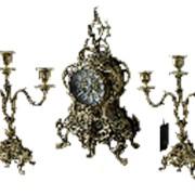 Часы каминные с канделябрами в наборе Дон Луиш, антик