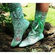 Сапоги коттон + гипюр зеленые крупные цветы фото