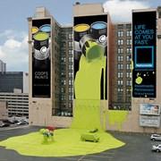 Брандмауэр реклама на фасаде  здании и домах  фото