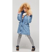Парка женская зимняя джинсовая с натуральным мехом П-31 фото