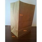 Пакет из крафта с плоским дном 33х20х14 плотность 70г/м в кв. фото