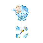 Бумажное украшение подвеска голубая С Днем рождения, Малыш! 75х40см фото
