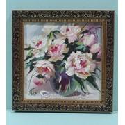 Картина Пионы маслом на двп, оформлено в рамку 25х25 фото