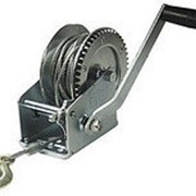 Лебедка ручная барабанная стационарная с тормозным механизмом 545кг (стальной трос 5мм*6м, 1 крюк) фото