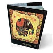 Обложка кожаная для паспорта Счастливый слон фото