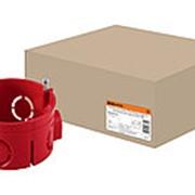 Установочная коробка СП D68х42мм, саморезы, стыковочные узлы, красная, IP20, TDM фото