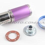 Глушитель тюнинг 170*100mm, креп. Ø78mm нержавейка, короткий, фиолетовый, прямоток, mod:3 фото
