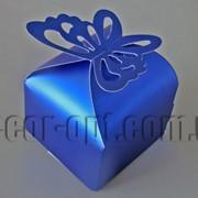 Бонбоньерка перламутровая с бабочкой синяя 6х6х8см 570791 фото