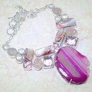 Ожерелье из агата, розового кварца и жемчуга фото