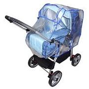 Дождевик для коляски-трансформера из полиэтилена, окошко на завязках, цвета канта МИКС фото
