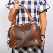 Коричневая комбинированная сумочка фото