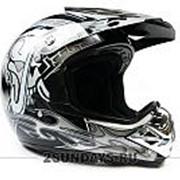 Детский защитный кроссовый шлем MOTAX L ( 53-54 см ) черно-серый фото