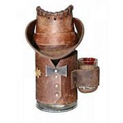Кружка пивная Шериф в кожаном чехле (коричн.) фото