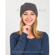 Зимняя шапка чулок темно-серая фото