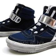 Ботинки замш/текстиль со звездами, цвет синий, арт. 2118-226216 фото