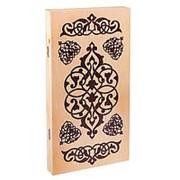 """Нарды """"Узор"""", деревянная доска 40х40 см, с полем для игры в шашки фото"""