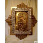 Икона Почаевской Божьей Матери (чеканка, булат) под заказ фото