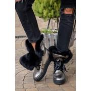 Женские зимние ботинки с отворотом на меху из натурального кролика, р.р 35-41 фото