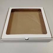 Картонная коробка для пряников, конфет, печенья 25х25х3см белая с окном фото