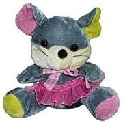 Мягкая игрушка Мышка серая с цветными лапами 19см фото